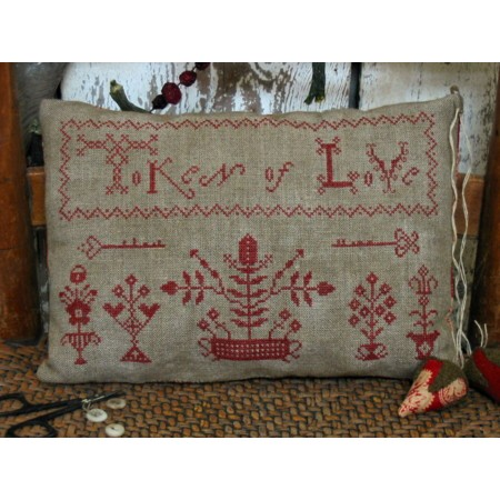 Token of Love Redwork Sampler Pillow