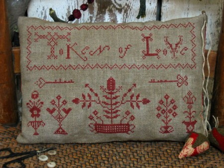 Token of Love Redwork Sampler Pillow E-pattern