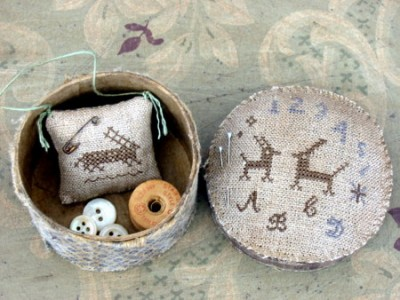 Two Hares Marking Sampler Sewing Box