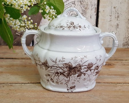 Brown Transferware Sugar Dish