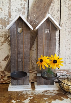 Pair of Rustic Birdhouse Sconces