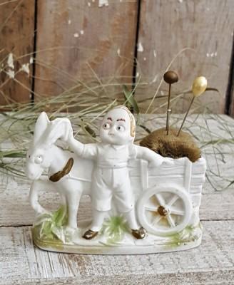 Boy & Donkey Bisque Pincushion
