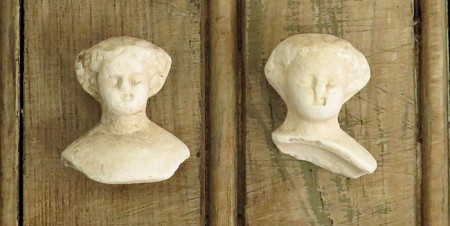 Lot of 4 Chalkware Doll Heads