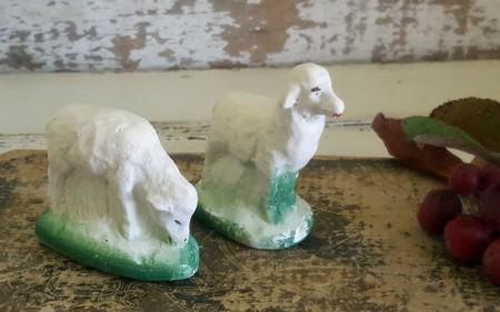 Pair of Chalkware Sheep