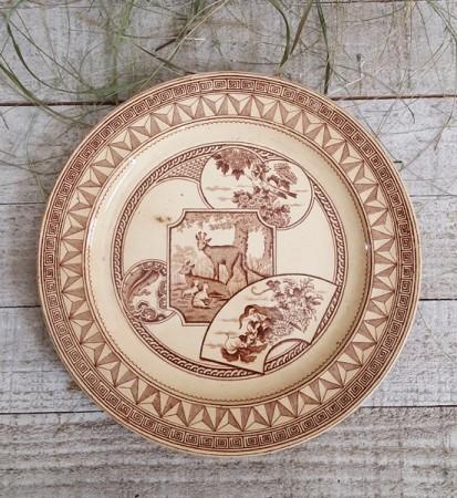 Brown Transferware Plate with Deer