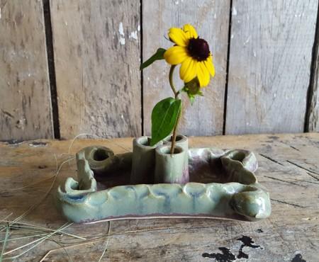 Handmade Ikebana Pottery Vase/Flower Frog