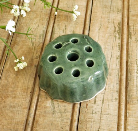 Round Ribbed Green Pottery Flower Frog