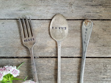 Vintage Silverplate Plant Markers - Herbs Thyme Basil