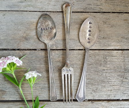 Vintage Silverplate Plant Markers - Basil Dill Sprout
