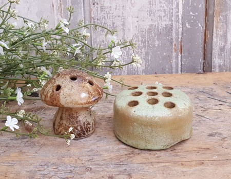 Pair of Pottery Flower Frogs