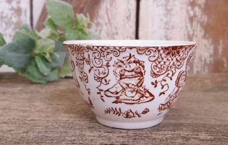 Brown Transferware Punch & Judy Cup