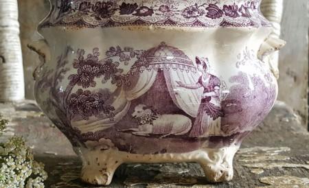 Antique English Purple Transferware Footed Sugar Bowl